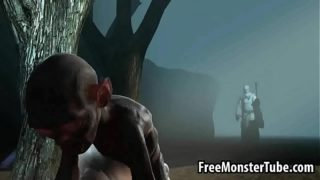 Hot 3D babe gets fucked hard in the woods by Gollum